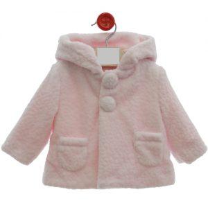 Abrigo de bebe rosa con capucha