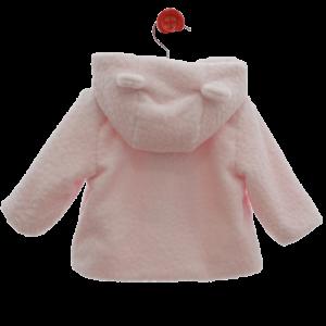Abrigo de bebe rosa con capucha atrás