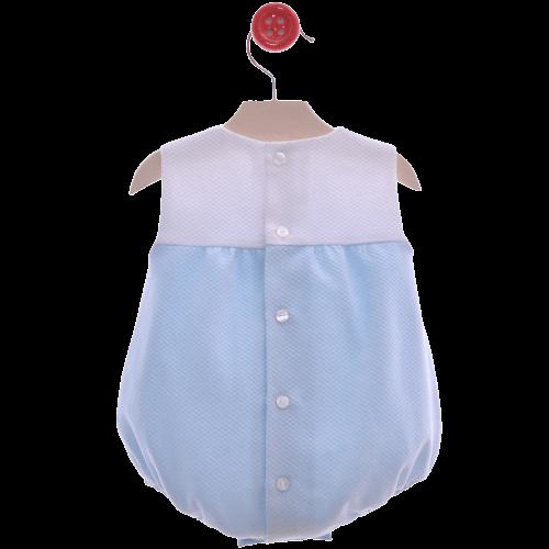 Pelele de bebe azul atrás