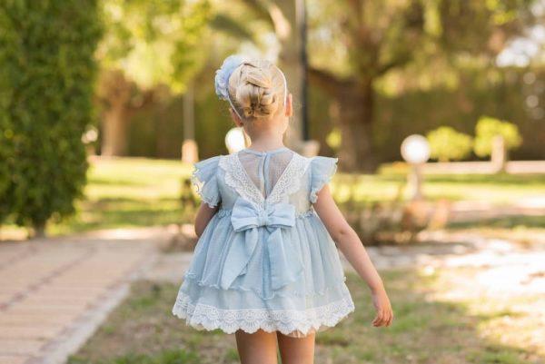 Vestido de ceremonia azul Dolce Petit atrás