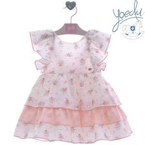 Vestido rosa con estampado de flores Yoedu