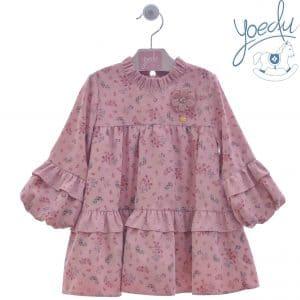 Vestido rosa de flores Yoedu